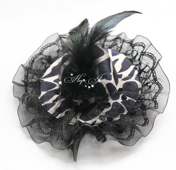 10cm Elegant Ladys' Felt Feather Mini top Hat with race & Acryl Stone Hair fascinator Hair Clip Hair Accessories 12pcs/lot