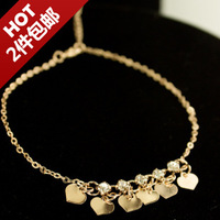 Hot-selling flat love rose gold diamond anklets girls fashion