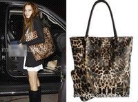 2014 Free Korea Leopard big handbags Women shoulder bag PU Leather Designer bags with purse Envelope bag Fashion