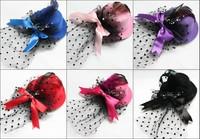Cute Purple Mini Top Hat Fascinator Feather Veil Bow 6color 12pcs/lot