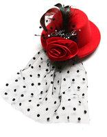 Mini top hat fascinator Feather veil & Satin Fabric Flower hair clips 5'' 6color 12pcs/lot