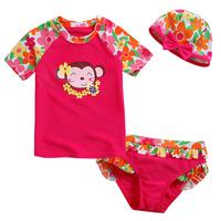 For 2013 sunscreen split child swimwear beauty female child short-sleeve swimwear infant baby swimwear
