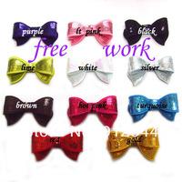 "2.8"" sequin  bows, baby hair bows, 48pcs/lot, mix 12 colors, free shipping"