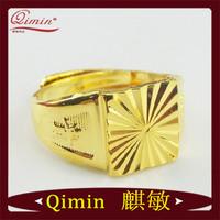 2014 Fashion Jewelry 24K Gold Filled Fashion Square Men's Gold Rings 4 Multi Sizes Fashion Rings Free Shipping