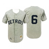 Mix Order Detroit Tigers 6# Al Kaline grey Baseball Jerseys Embroidery logos 1968 throwback Free Shipping Size 48-56