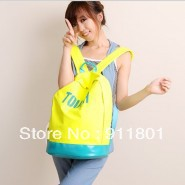Free shipping fluorescent color nylon shoulder bags school letter fashion backpack College style students leisure bag wholesale