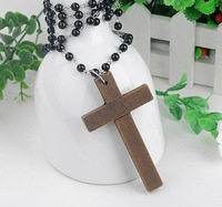 24pcs/lot Free Shipping Wholesale Fashion Wood Cross Necklace Long black beads Sweater Chain Necklace Wooden Made Cross Pendant