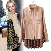 2013 new fashion womens' patchwork Pleated Leopard print shirt long sleeve elegant casual shirts slim tops OL designer blouses