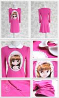 2013 spring purple girl print slim fashion big doll dress 123