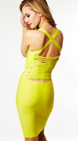 DHL/EMS/Dpex Free shipping  Top Quality 2013 New arrival Women Yellow Bandage Dress Knitting Dress