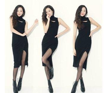w43 vestidos 2014 women fashion sexy long black slashing lap party euro evening  dresses dress