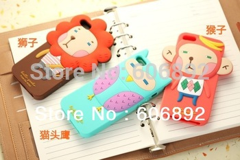 2pcs/lot Free shipping New Arrival Cute 3D Soft Silicone Case Cover Skin For iPhone 5