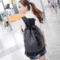 Casual canvas backpack multifunctional student bag unisex bag teenager school bag canvas solid design travel bag