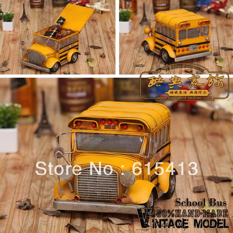 Handmade iron American school bus with housing, photographic props, retro home furnishing, window decoration,creative gift(China (Mainland))