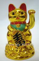 "Feng-Shui 4.5"" (11.7cm) Lucky Money Cat Plastic Gold Beckoning Waving Wealth MANEKI NEKO Figurine Statue"