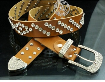 Free Shipping ladies new summer genuine leather rhinestone belt / leather jeans with rhinestone studded belt