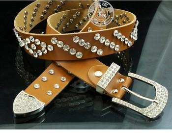 Free Shipping ladies new summer genuine leather rhinestone belt / leather jeans with rhinestone studded belt