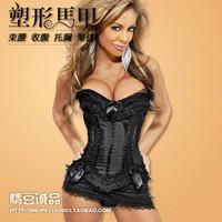 2013 Fashion New Sexy Lace up Steel Bustier G-String Corset Lingerie Underwear Sleepwear Black  corsets women fashion set
