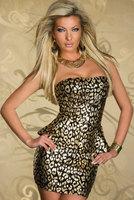 combinaison vestido de festa  Foil Bandeau Package Hip Dress Sexy & Club club wear mini dress vestido leopard informal clothing