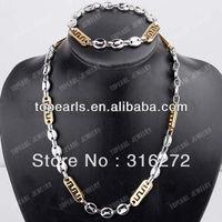 Topearl Jewelry 304 Stainless Steel Coffee Beans Link Necklace & Bracelet Jewelry SSJ79