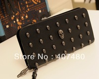 wholesale retail day evening bag clutch rivet skull bag wrist strap Handbag purse wallet Lady women's Fashion night club