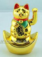 "5.5"" (14.5 cm) Lucky Money Cat Plastic Gold Beckoning Waving Wealth MANEKI NEKO Figurine Statue Feng-Shui"