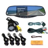 "3.5"" TFT LCD Bluetooth Handsfree, Car Rear view Mirror & 4 Sensor Reversing Aid and Bumper Flush Mounted CMOS Color Camera"