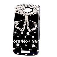 Bling Diamond Black Bow Bowknot cell phone cases For HTC One S T-Mobile