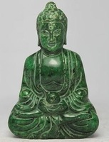 Free Shipping CHINESE HANDWORK CARVING BUDDHA OLD JADE STATUE