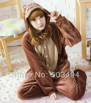 Men/Women Brown Chipmunk Costume Kigurumi Animal Hoodies Pajamas Causal Lounge Sleepwear Free Shipping Retail