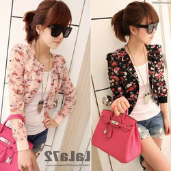New 2013 Fashion Womens Ladies Floral Print Casual Chiffon Small Short Coat Tops Outwear Jacket Size S Free Shipping 0115(China (Mainland))