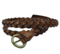 Min.order $10(Mix order)Free shipping!!! Women's classical pin buckles belt  jeans belt  brown PU braided belt( 2 colors)