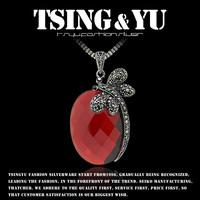 925 pure silver jewelry pendant garnet autumn and winter cat-eye chain thai silver pendant -