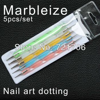 free shipping 5pcs 2way Nail Polish Art Dotting Marbleizing Pen Tools be used on Natural nails