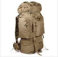 Free shipping tactical backpack 65l large capacity multifunctional travel backpack outdoor mountaineering bag belt rain cover