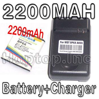 2200MAh Phone Battery + Phone Charger For MOTOROLA BP6X DROID A855 CLIQ MB200 XT720
