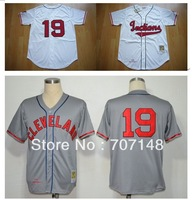Throwback Jersey Indians #19 Bob Feller Cream Gray Size:48-56  -Free Shipping