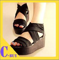 Free shipping 2013 sandals female platform fashion open toe shoe women shoes gladiator wedges slippers