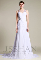 12W072 Straps Ruching Beading Slim Fitted Satin Chiffon Gorgeous Luxury Unique Brilliant Bridal Wedding Dress free shipping