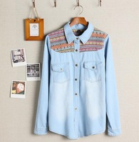 Brief Women Washed Denim Shirt Long Sleeve Cardigan Tops With Pockets Ambroidered Blouse