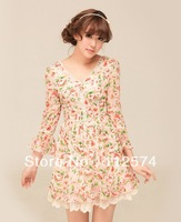 2013 spring new lace V-neck Floral Chiffon Dress