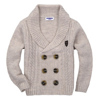 Child thick sweater double breasted turn-down collar male child girls clothing sweater knitted sweater cashmere british style