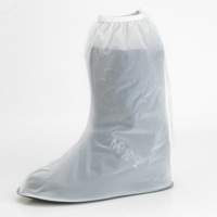 Rain shoe covers women's transparent knee-high high flat heel thickening slip-resistant rain boots disposable eco-friendly rain