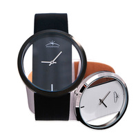 Large dial mirror quartz lovers watches leather table