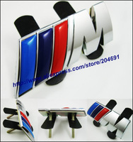 5pcs Top Quality Color ///M M Tech Metal 3D Hood Front Car Logo Grill Badge Grille Emblem Badge Blue