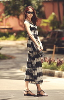 2014 Twinset vest sleeveless one-piece dress bohemia vintage full dress