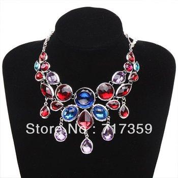 Whoesale 1pc Pretty Charm Resin Rhinestone Pendants Silvery Chain Bib Necklace 48cm 321031