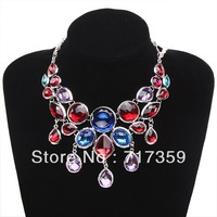 Whoesale 1pc Pretty Charm Resin Rhinestone Pendants Silvery Chain Bib Necklace 48cm 321031