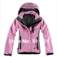 Free shipping New Women's Soft shell Jacket Hiking Coat choose 5colo runisex (S,M,L,XL,XXL)   1#