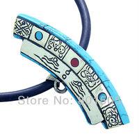 Amulet Double Sided Tibetan Mantra Om Mani Padme Hum and Buddha All Seeing Eye Turquoise Magic Symbols Pendant Necklace